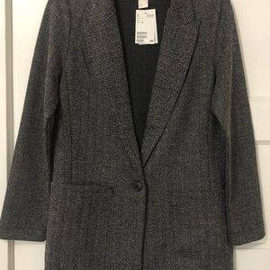 H&M Black and White Textured Blazer